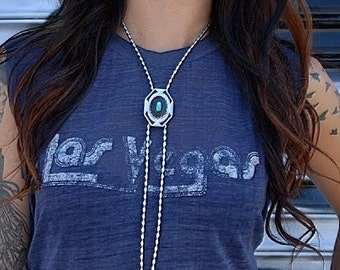 Art Deco Style Bolo Tie with Turquoise Stone