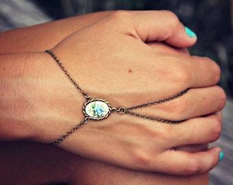 blue rose hand chain, bracelet ring, slave ring, flower ring, boho bracelet, ring bracelet