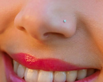 Tiny Turquoise Sterling Silver 1mm Nose Stud, Nose Ring, Silver Nose Stud, Turquoise Nose Ring, Turquoise Nose Stud, Tiny Nose Ring
