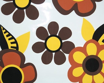 Retro Wallpaper by the Yard 70s Vintage Wallapper - 1970s Vinyl Brown Yellow Orange and Black Flowers on White