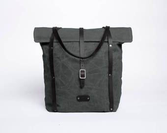 Waxed Canvas & Leather Rolltop Tote Bag | Dark Olive
