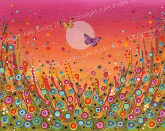 Bright, Colourful, Flower Meadow with butterflies Painting on Canvas Paper
