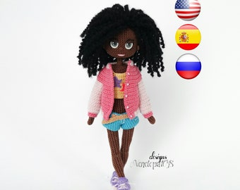 Pattern Doll Naomi, amigurumi crochet doll, crocheted dolls pattern, amugurumi pattern, pdf pattern