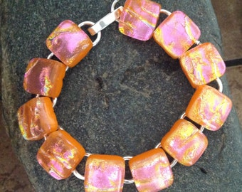 Orange Pink Fused Dichroic Art Glass Jewelry Link Bracelet. Silver plated
