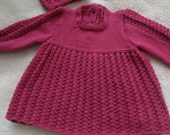 Raspberry hand knitted baby dress and beret. Girls dress,hat.