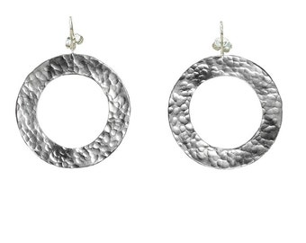Silver hammered hoop, drop hoop, large circle earring, wide drop loop, light weight jewelry, 40 mm hoop, alpaca jewelry, fashion jewelry,