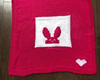Modern Baby Blanket Raspberry - Hand Knit - Bunny Blanket