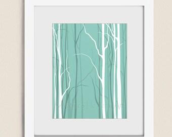 Teal Wall Decor Bare Winter Tree Art Print, 11 x 14 Bedroom Wall Art, Nature Silhouette (52)