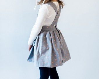 Toddler Pinafore Dress - Toddler Dress - Vintage Girls Dress- 2T, 3T, 4T, 5T Gray with Copper Dots