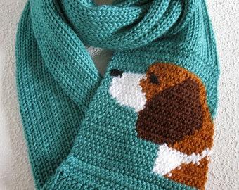 Beagle Infinity Scarf. Long knit aqua scarf with a beagle dog. Knitted circle scarves. Beagle gift. Crochet dog scarf