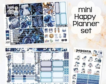NewRELEASE Blue Rose set kit weekly stickers - for MINI Happy Planner - floral flowers girls fashion summer