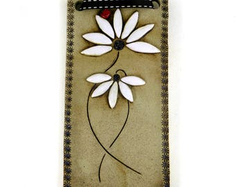 Daisy Wall Tile with Ladybird and Brown Textured Ribbon by Maggie Betley - Zoo Ceramics - Slab Built + Hand Carved Original Pottery Design