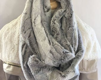 Silver and Cream with black undertones Faux Fur Infinity Scarf, Long Circle Scarf, Fashion Scarf, Silver Fox Scarf