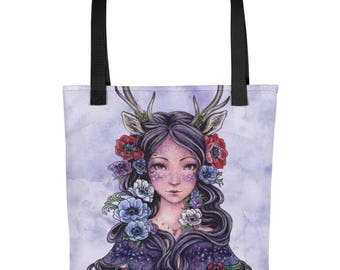 Fantasy art, Gothic Faun with Anemone flowers Tote bag, Fairy art, Antler girl, Art Nouveau art