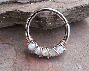 5 White Opal 16g Silver Daith Rook Hoop Ring Daith Septum Hoop