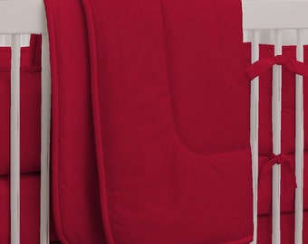 Neutral Baby Crib Bedding: Solid Red Crib Comforter by Carousel Designs