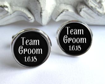 Team Groom Cufflinks, Groomsmen Gifts, Personalized Cufflinks