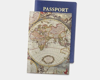 Vintage Map Passport Cover Leather Passport Case Travel Gift Leather Passport Birthday Gift Personalized With Initial Passport Holder YG1136