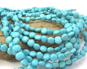 Magnesite Beads, Light Teal Green Magnesite Beads, 8mm Puffed Flat Round Beads, 15 inch Strand, Item 1268gsm
