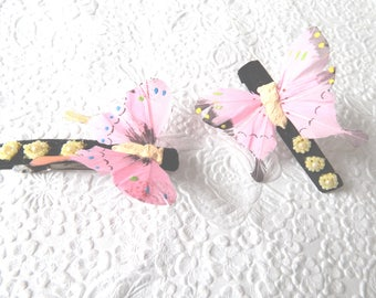 Pink butterfly beaded hair barrette, ponytail holder, womens hair accessory, price per barrette