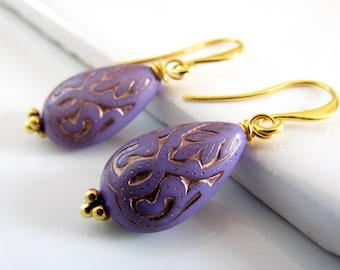 Lavender and Gold Teardrop Earrings, Vintage Style, Lilac Purple, Under 20, Lavender Teardrop Earrings, Lilac Drop Earrings