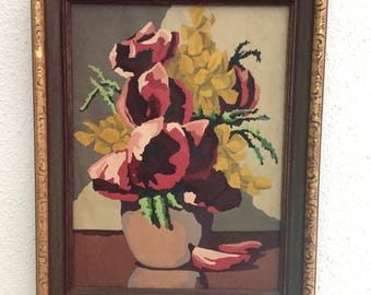 Vintage Acrylic  Paint by numbers Floral Still Life