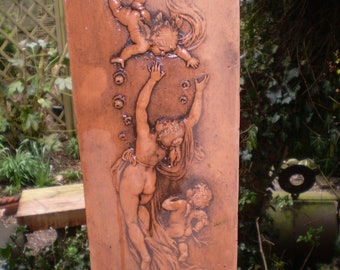 Gorgeous Romantic Vintage French Art Deco Maiden and Chreubs Garden courtyard wall plaque,Terracotta.