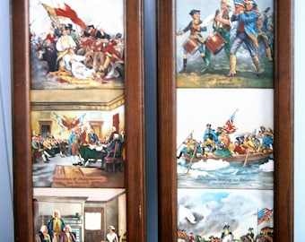 Pair of Framed Tiles Pictring Famaous Revolutionary War Scenes,  6 Tiles, Patriotic Wall Hanging,
