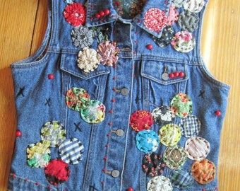 OOAK Embellished Vintage Denim Vest WHATS a YOYO - Fully Lined - Upcycled Repurposed Recycled Clothing
