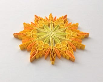 Quilled Snowflakes Paper Quilling Art Christmas Tree Decor Winter Hanging Ornaments Gifts Toppers Mandala Office Corporate Yellow Honey