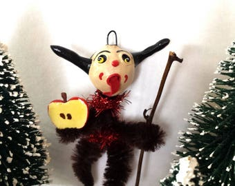 Vintage Style Naughty Krampus Chenille Holiday Christmas Ornament