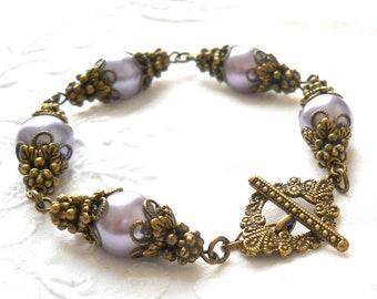 lilac victorian bracelet filigree bracelet lilac bracelet lilac faux pearl bracelet lilac and bronze bracelet