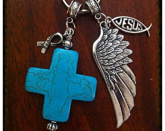 Christian Keychain, Cowgirl Keychain, Cancer Awareness Keychain,Turquoise Cross Keychain, Cross Key Chain with Angel Wings Charm