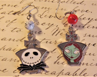 Jack and Sally The Nightmare Before Christmas Earring Heads