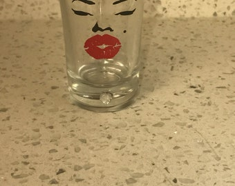 Marilyn lips shot glass