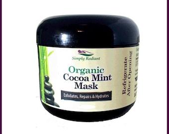 Organic Cocoa Mint Face Mask Anti-Aging|Vegan Exfoliator, Moisturizer and Microdermabrasion