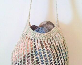 Beige. Green. Net Bag. Ready to Ship. Mesh Market Bag. Shopping Bag. Lace Knitted Bag. Beach Bag. Farmers Market Bag. Cross Body Strap
