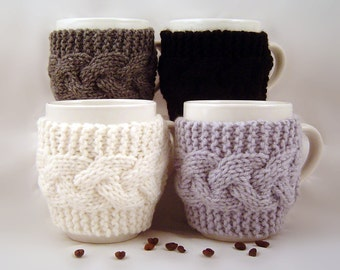 Set of 4 Hand Knit Coffee Mug Cozy Your Choice Of Colors Save 8.00 with this Pack of 4
