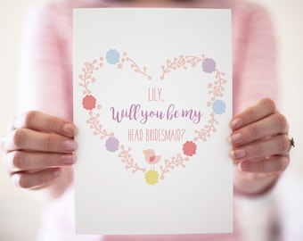 Personalised Floral Will You Be My Head Bridesmaid Wedding Card, Floral, Pastel Stationery, Birds