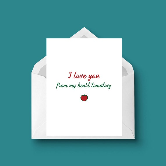 I love you from my heart tomatoes card punny greeting card m4hsunfo
