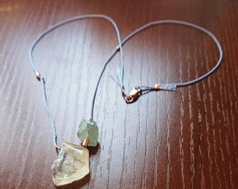 Silk cord, citrine and aquamarine necklace, silk necklaces, gift her, November March birthstone, summer fashion, Boho chic, crystal jeweller