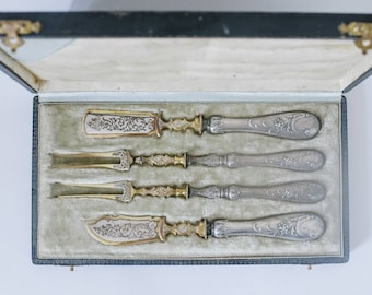French Victorian Rococo Sterling Silver & Gold Flatware Paris C1880 - Antique Flatware