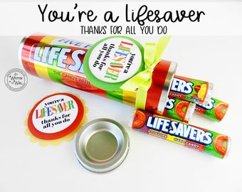 You're a Lifesaver Treat Tag / Thank you gift / Teacher Appreciation Gift / Reward for Kids / Sentiments of Appreciation / Thanks Teacher