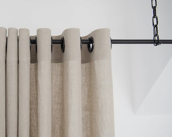 Blackout Linen Curtains With Grommets, 16 Colors, Grommet Curtain Panels,  Unlined Linen Window