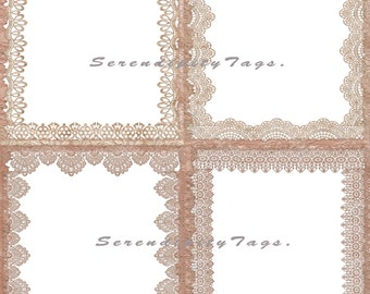 Tea Stained Lace border Overlays.