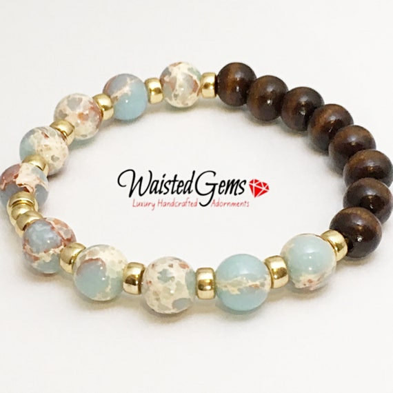 14k African Opal and Wood Bracelet, gift ideas for her,  Bracelets, Woman Bracelets, Birthday Gift  zmw929.9