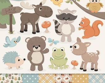 Cute Woodland Animals Clip Art & Papers - Woodland Clipart, Forest Animal Clipart, Woodland Animal Vectors, Bear Clip Art, Owl C