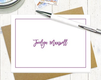personalized stationery set - PERFECTLY CAREFREE - set of 8 folded note cards - stationary