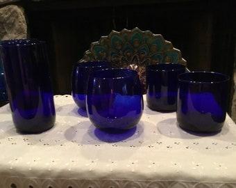 Vintage Libby Glass Cobalt Blue Glass Set
