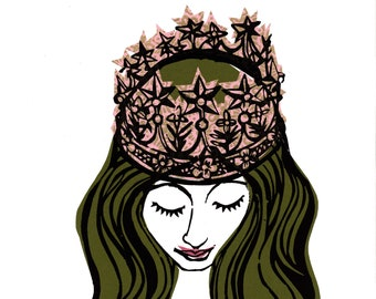 Girl With Crown - Green